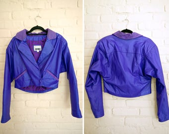 Purple Leather Moto Jacket | Cropped Leather 80s Jacket
