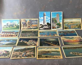 Vintage California  Postcards, 17, Lot, assortment, Golden Gate, San Francisco