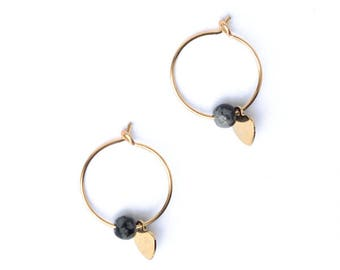 Heart stone hoop earrings, Heart earrings, Obsidian earrings, Cute heart, Gold filled earrings, Cute earrings, Mini earrings, Heart jewelry
