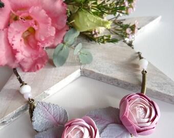 Necklace romantic Ranunculus flowers