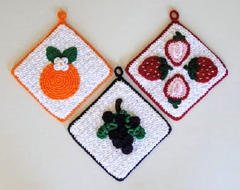 Crochet Pattern - Fruit Potholder Crochet Pattern #306 - Grape Strawberry Orange - Instant Download PDF