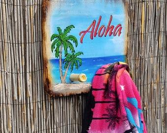 Tiki Bar Decor - pool bar tiki hut towel holder hat rack Hawaiian decor tropical decor wall hanging clothes hanger mothers day gift for her