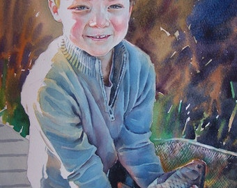 Watercolor portrait from photo. Child Portrait. Custom portrait. Portrait from photo. Custom watercolor painting. Custom painting.