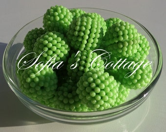 20mm Chunky Bright Apple Green Berry Beads, G13