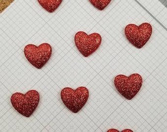 Red Glitter Hearts Decorative Thumbtacks, Set of 10, Sparkly Thumbtacks, Heart Thumbtacks, Love Thumbtacks, Bulletin Board | Memo Board
