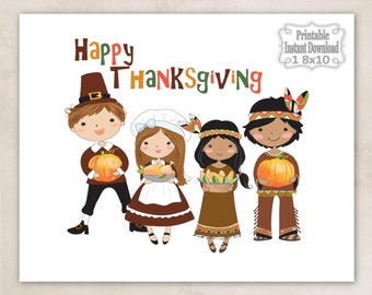 Printable Happy Thanksgiving Pilgrims Indians Pumpkins Wall Art Decor Sign Baby Child Kids ~ DIY Instant Download ~ 1 8x10 Print