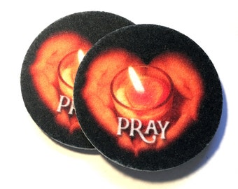 Car Coasters, Set of two super absorbent auto coasters for your car's cup holder - Pray - two pack of car coasters - Free Shipping