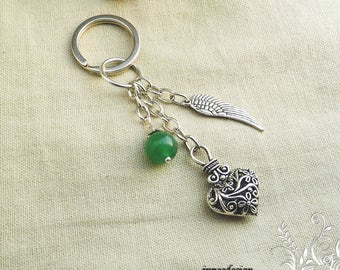 Door key Aventurine heart and wing