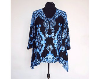 Black and Blue TUNIC Maxi Blusa Ampia Tunica Oversise XXL XXXL Tunique