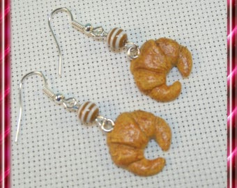 Pair of Crescent earrings, polymer clay