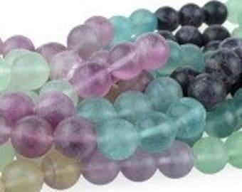 "Dakota Stones Banded Matte Fluorite 10mm Round Gemstones. 8"" Strand. FLU10RD-M-8"