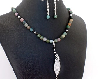 Pave Crystal Leaf Indian Agate Rainbow Necklace Earrings Set Natural Stone
