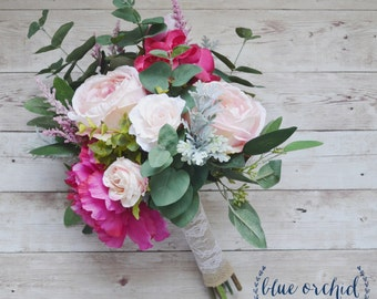 Pink Boho Bouquet with Eucalyptus, Silk Bouquet, Wedding Bouquet, Faux Flowers