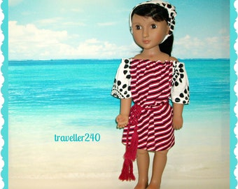 "A Girl For All Time Doll Clothes, Clothing for 16"" Dolls, Handmade Dress and Headband, Red White Stripe AGAT Fashion Outfit by traveller240"