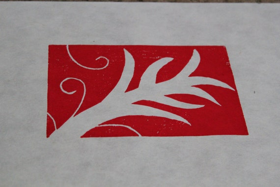 Botanical colorful wood block prints on 9x12 paper