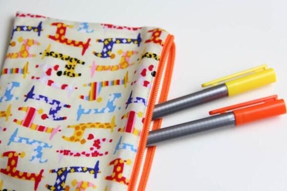 Pencil case - Zipper pouch - giraffes - multicolor - yellow - orange - blue - toys - jewelry - pencils - handbag - gift - girl or boy