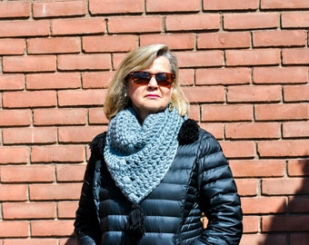 Crochet Grey Kerchief Scarf with Black Tassels