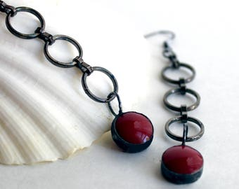 Red Dots Stained Glass Earrings - Stained Glass Jewelry-Free US Shipping