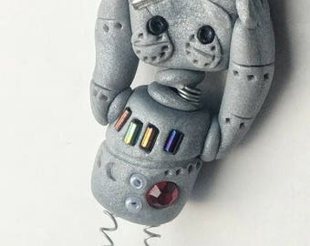 oh my polymer clay steampunk robot ornament