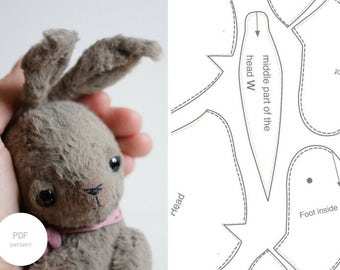 PDF Sewing Pattern & Tutorial Mohair Rabbit 6 Inches Stuffed Animal Pattern Easter Bunny Pattern Artist Bear Pattern For Women Soft Toys