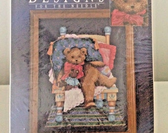 Mr Bear Counted Cross Stitch Kit 14 x 16 Teddy Bear Chair NEW Aida Complete New Old Stock