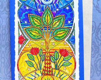 Fine Art Greeting Card, Sunseed Moonflower Tall Version, Hand Made, Archival Reproduction of an original painting.