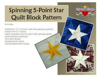 Pattern: Spinning 5-Point Star Quilt Block