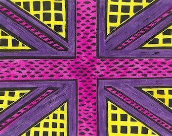 Geometric Union Jack Print in Yellow/Purple/Pink