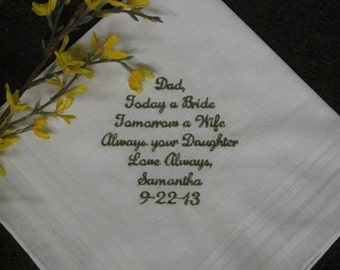 Personalized Wedding Handkerchief To Dad