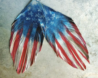 Incredibly lightweight and soft leather feather earrings. Just in time to celebrate July 4th.