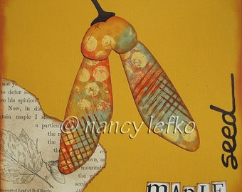 maple seed - 6 x 6 ORIGINAL COLLAGE by Nancy Lefko