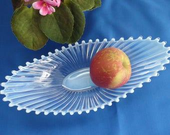 Fostoria Heirloom White Opalescent Glass Bowl 1960s Centerpiece Console Fruit Bowl Art Glass
