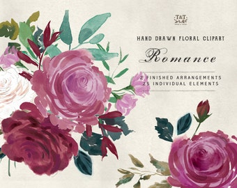 Romance - Watercolour Flower Hand Painted Clipart