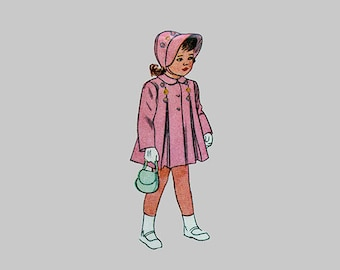 1946 Child dress, Coat and bonnet, Simplicity 2563, Dress center pleat and sash, Coat side front pleats, Size 6 months, Chest 19 inches