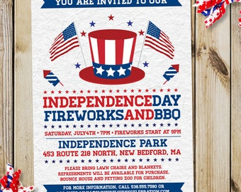 Retro Patriotic July 4th Independence Day Party Invitation, Printable, Evite or Printed (US Only) Invitations