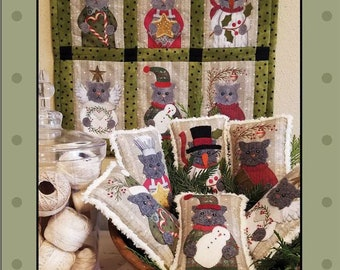 MEOWY CHRISTMAS Bowl Fillers  -   6 Pre-Printed Background Fabrics Included With Pattern   By: Bonnie Sullivan - All Through The Night
