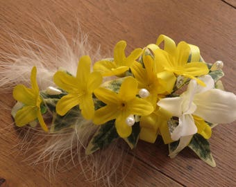 Yellow Blossom and White Orchid Flower Corsage, Wedding, Prom, Anniversary.