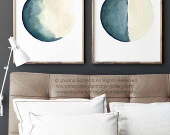 Half Moon Art Print set 2 Canvas Watercolour Paintings Turquoise Cream Painting Vanilla Blue Moon Phases Living Room Wall Decor Illustration