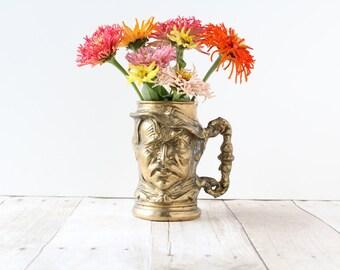 Heavy Brass Face Mug / Masculine Male Man Figural Tankard / Collectible Vase Planter Beer Stein Sailor