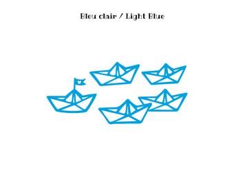 Motif bateau style origami en flex thermocollant,thermoflex,motif flex thermocollant,tranfert thermocollant,thermocollant bateau,bateau flex