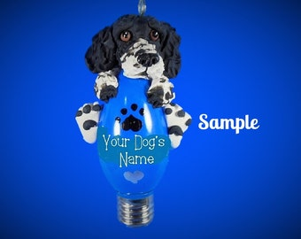Black and White Brittany Spaniel Dog Christmas Holidays Light Bulb Ornament Sally's Bits of Clay OOAK PERSONALIZED FREE with dog's name