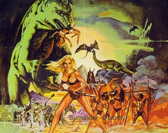 When Dinosaurs Ruled The Earth 1970s Film Sci Fi Horror Movie Poster Full Color Advertisement Film Lithograph To Frame Science Fiction