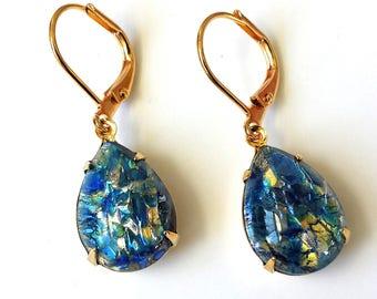 Sea Blue Fire Opal Earrings Sapphire Blue Opal Earrings Blue Fire Opal Earrings Sapphire Harlequin Opal Earrings Blue Sapphire Opal Earrings