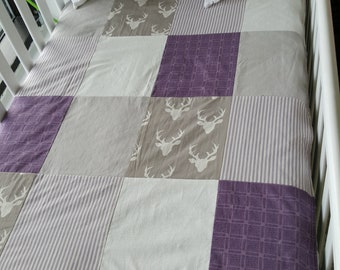 Coutepointe - size crib - deer, grey and purple baby blanket