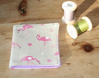 Flamingo print and felt needle case, needle book, needle minder. Flamingoes print .  Gift for crafters,sewing gift, Christmas birthday gift