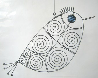 Still Another Blue - Eyed Wire Bird Sculpture