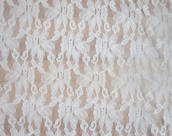 Ivory Stretch Lace Fabric by the Yard Cream Off White Sheer Lace Floral Lace Fabric Lingerie Clothing Apparel Fashion Lace Fabric