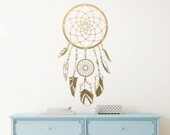 Dream Catcher Wall Decal - Vinyl Wall Decal, Dream Catcher Decor, Nursery Decal, Boho Wall Decor, Tribal Wall Decal, Unique Wall Decor