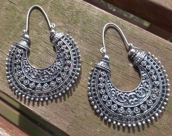 Antique Silver Tribal Earrings With Handmade Sterling Silver  Ear Wires - Gypsy - Hippy - Ethnic - Boho
