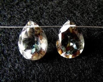 Mystic Rock Crystal Quartz Concave Cut Pear Shaped Briolette Matched pair